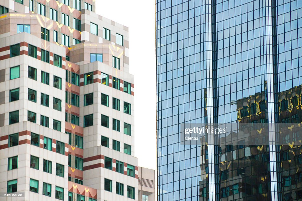 High buildings. Reflections in windows : Foto de stock