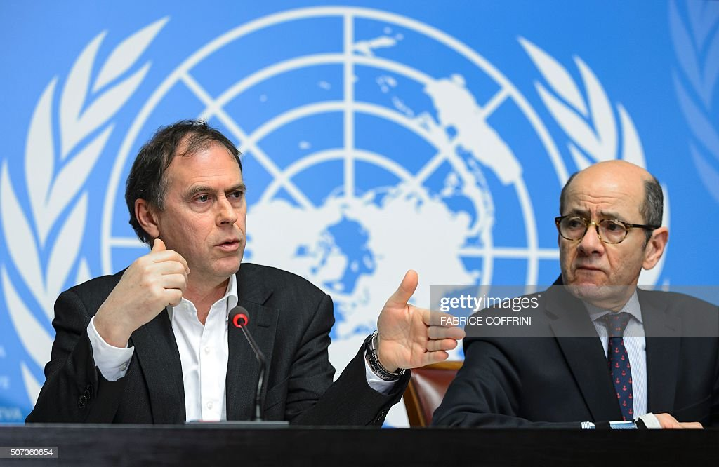 UN High Commissioner for Human Rights spokesperson Rupert Colville (L) and Interim Director of the United Nations Information Service in Geneva Ahmad Fawzi briefs the press on January 29, 2016 in Geneva on new claims of child abuse by foreign troops in Africa. UN rights chief expressed alarm at new allegations of child abuse by foreign peacekeepers in the troubled Central African Republic, including cases involving European Union troops. / AFP / FABRICE