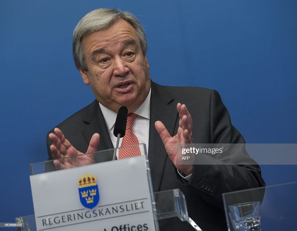 UN High Commissioner for Refugees (UNHCR) <a gi-track='captionPersonalityLinkClicked' href=/galleries/search?phrase=Antonio+Guterres&family=editorial&specificpeople=553912 ng-click='$event.stopPropagation()'>Antonio Guterres</a> speaks during a news conference at the Swedish government headquarters Rosenbad in Stockholm, Sweden, on February 3, 2015. Guterres is in Stockholm for a two-day visit to discuss the migration situation in the world.