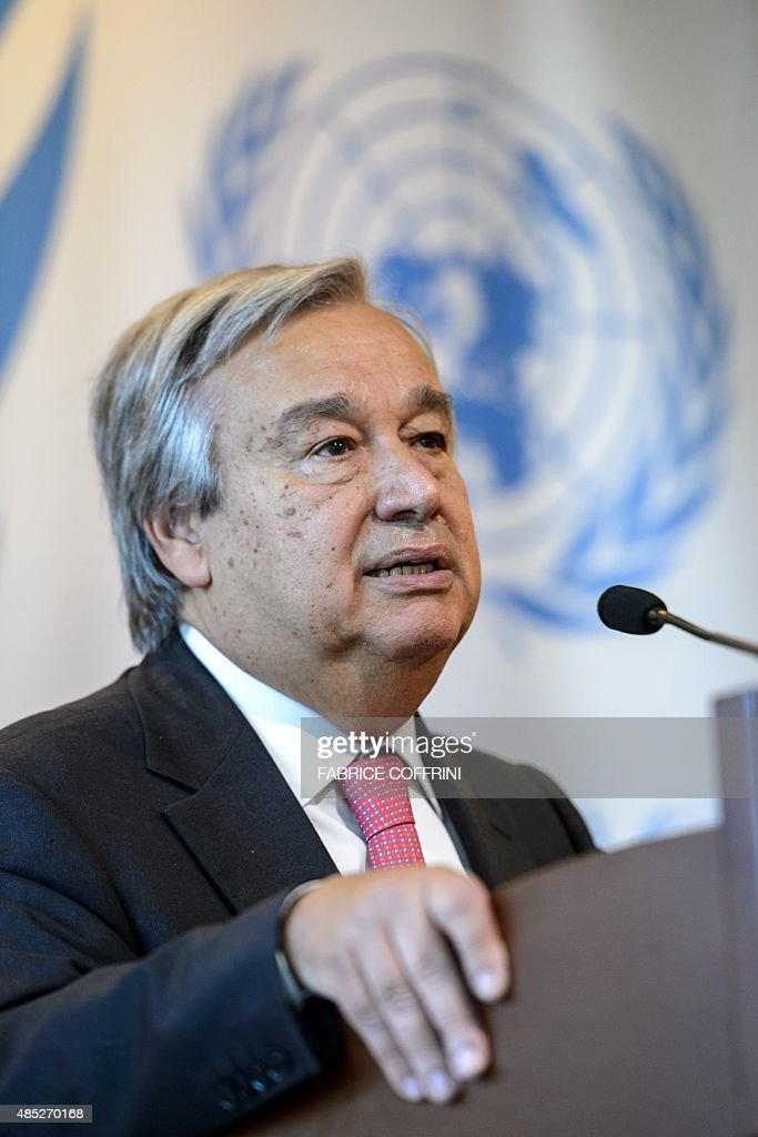UN High Commissioner for Refugees (UNHCR) <a gi-track='captionPersonalityLinkClicked' href=/galleries/search?phrase=Antonio+Guterres&family=editorial&specificpeople=553912 ng-click='$event.stopPropagation()'>Antonio Guterres</a> speaks during a press conference following a meeting to discuss the migrant crisis rocking Europe on August 26, 2015 at the UN Offices in Geneva.