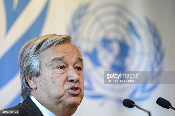 UN High Commissioner for Refugees Antonio Guterres speaks during a press conference following a meeting to discuss the migrant crisis rocking Europe...