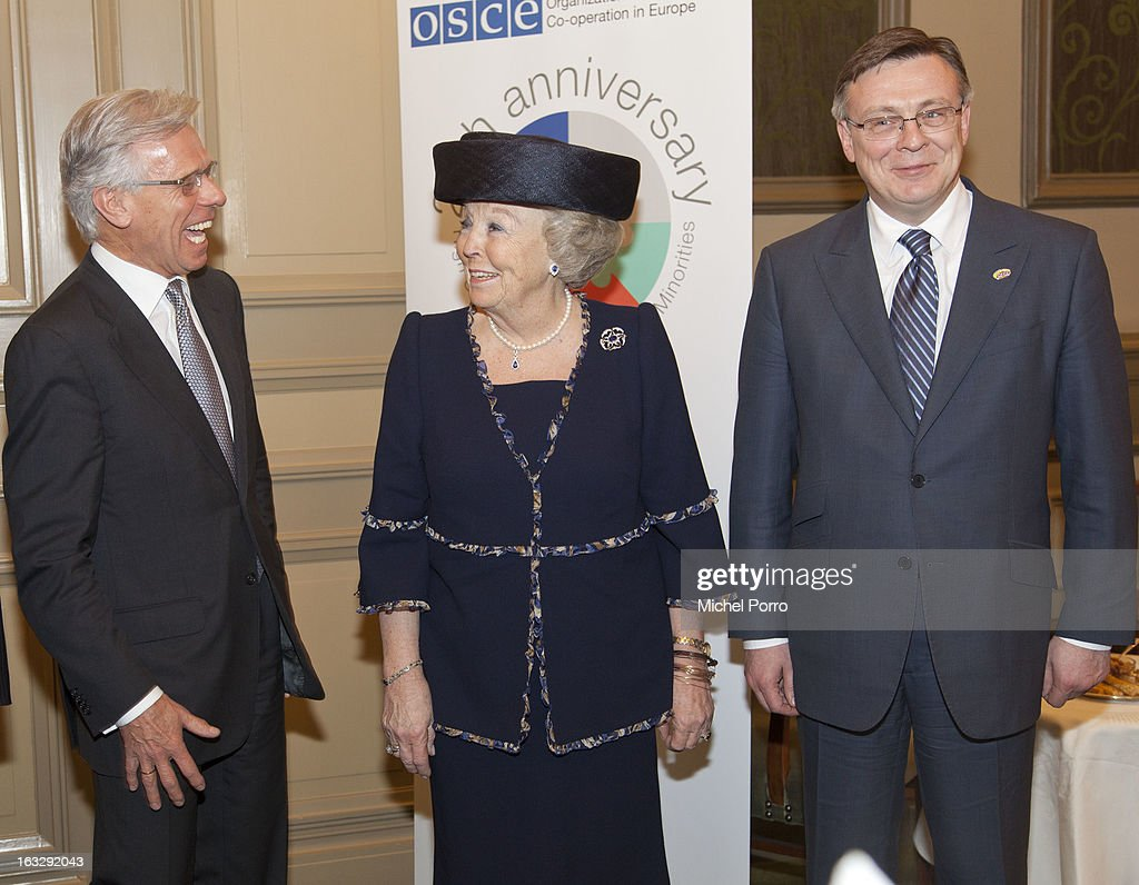 High Commissioner on Minorities Knut Vollebaek, Queen Beatrix of The Netherlands and Ukrainian Foreign Minister Leonid Kozhara attend the National Minorities conference on March 7, 2013 in The Hague, Netherlands.
