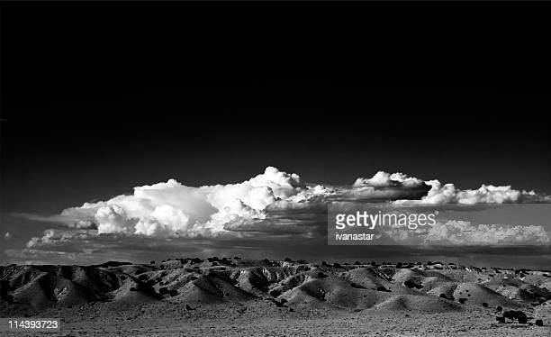 High Contract Black and White New Mexico Landscape with Clouds
