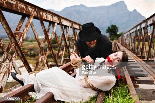 High drama as Victorian villain ties terrified maiden to railtrack!