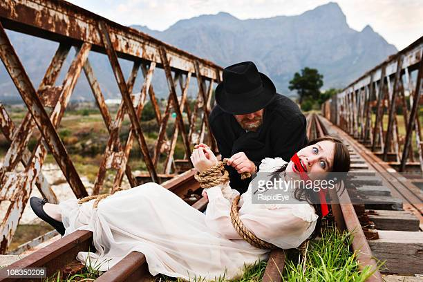 High drama as Victorian villain ties terrified maiden to railtrack!