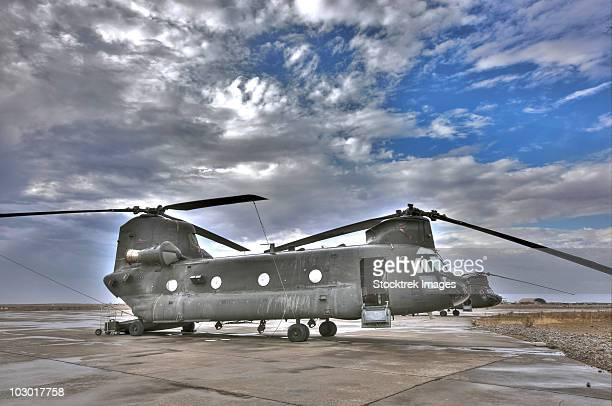 High dynamic range image of a CH-47 Chinook helicopter.