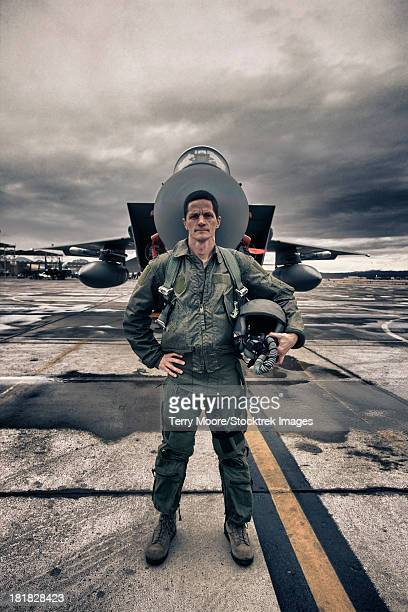High Dynamic Range image of a U.S. Air Force pilot standing in front of a McDonnell Douglas F-15C aircraft.