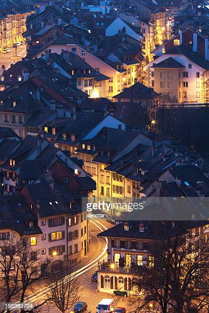 High elevated view of Bern at dusk from Rosengarten