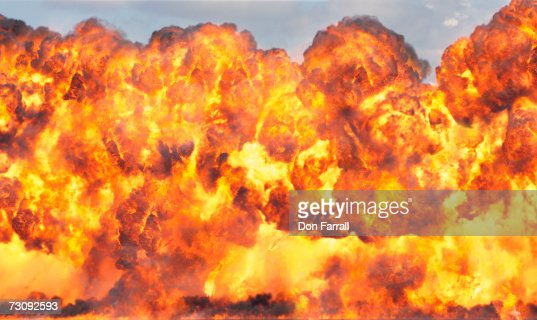 High explosion with trailing fire