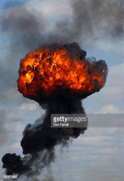 High explosion with trailing smoke