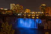 High Falls in Rochester at night