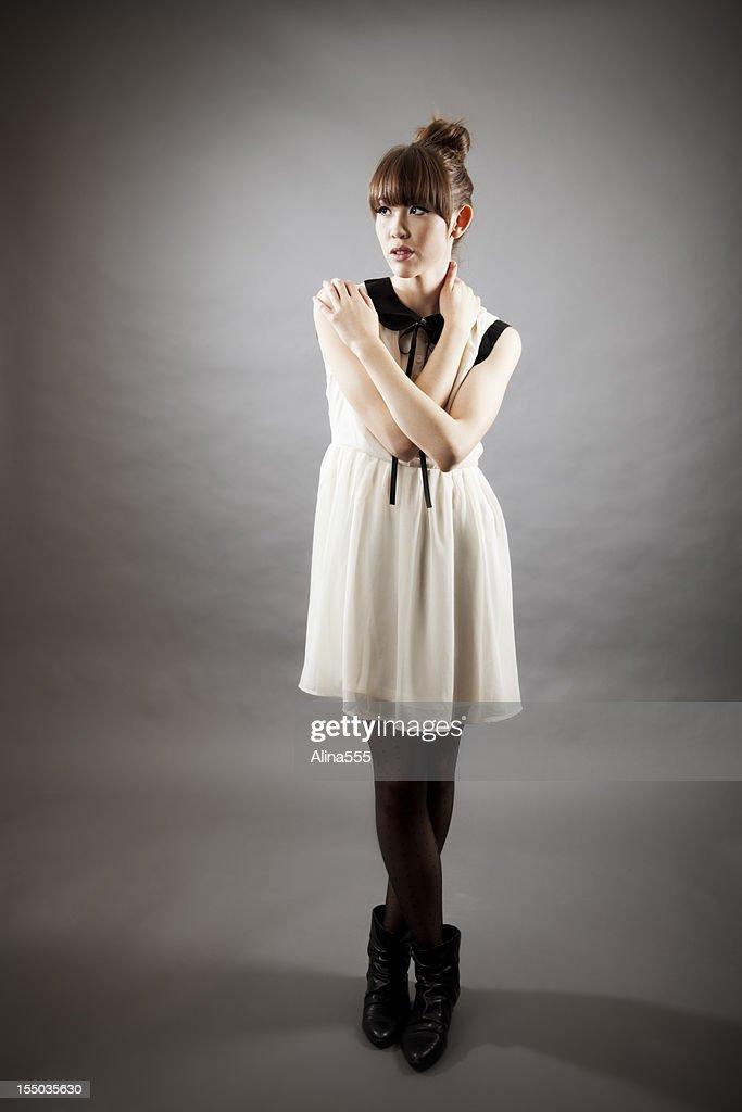High fashion: full length portrait of an elegant asian model