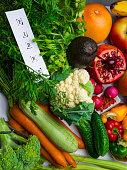 High fiber foods background. Flat lay, close up