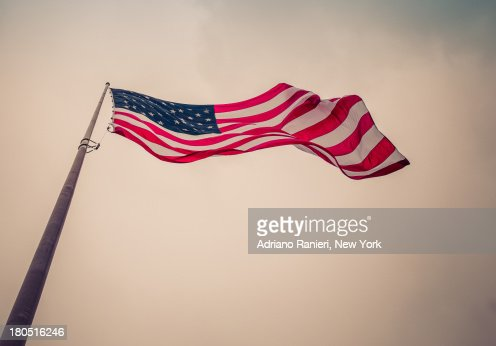 High Flying American Flag : Stock Photo