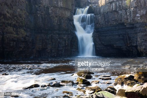 High Force, England's biggest waterfall, on River Tees near village of Middleton-in-Teesdale. : Stock Photo
