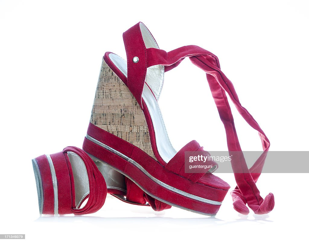 High heels in fashionable wedge style