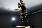 High jump on the wooden box