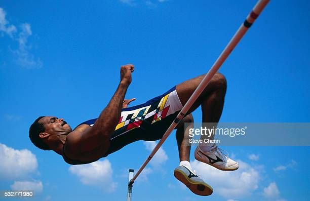 High Jumper Executing Fosbury Flop