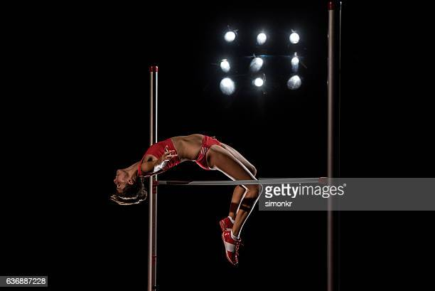 High jumper performing