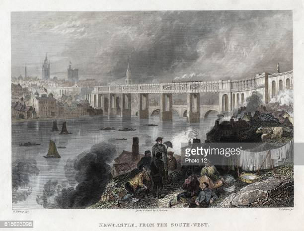 High Level Bridge over the Tyne at Newcastle built by Robert Stephenson between 1846 and 1849 Bowstring girder North British Railway District of...
