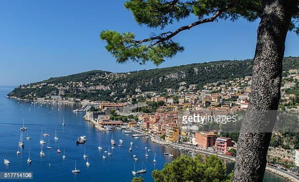 Niveau vue de la baie de Villefranche, la Côte d'Azur