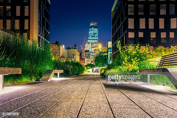 High Line Park at night, New York