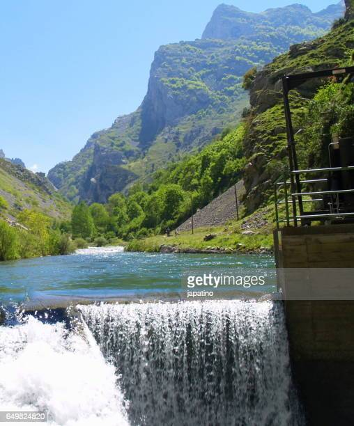 High mountain river and waterfall in the Picos de Europa