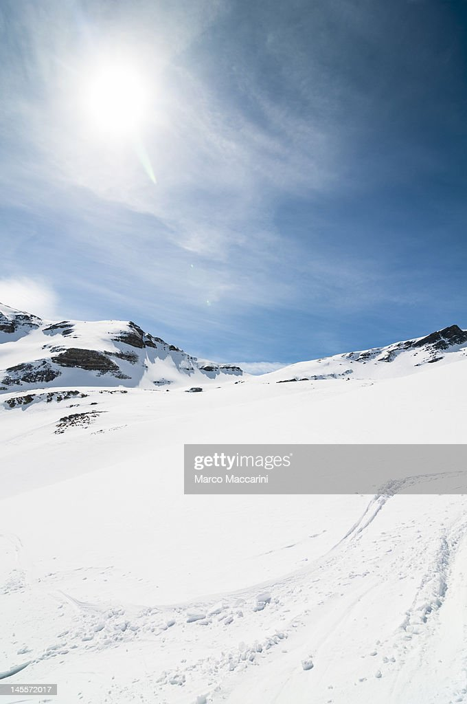High Mountain with Sun : Stock Photo