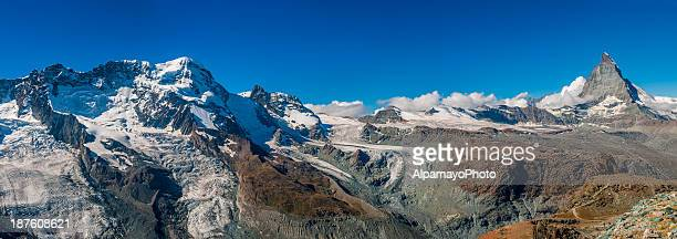 High mountains of Pennine Alps in Switzerland (panoramic) - IV