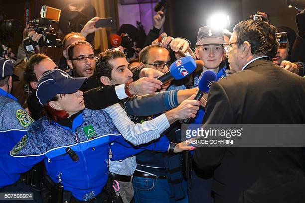High Negotiations Committee spokesman Riyad Naasan Agha of Syria's main opposition body briefs the press upon his arrival on January 30 2016 in...