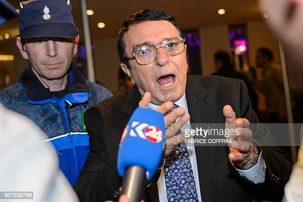 High Negotiations Committee spokesman Riyad Naasan Agha reacts to the press upon his arrival on January 30 2016 in Geneva for Syrian peace talks...