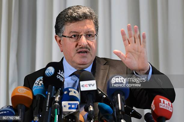High Negotiations Committee spokesman Salem alMeslet holds a press conference during Syria peace talks in Geneva on January 31 2016 UN Syria envoy...