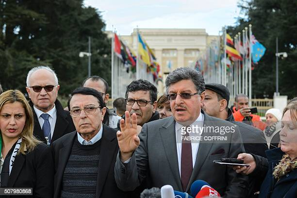 High Negotiations Committee spokesmen Riyad Naasan Agha and Salem alMeslet attend a press conference on Syrian peace talks at the Place des Nations...