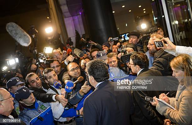 High Negotiations Committee spokesmen Salem alMeslet and Riyad Naasan Agha of Syria's main opposition body brief the press upon their arrival on...