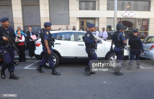 A high police guard was present following a bomb scare at the Cape Town High Court on November 21 2012 in Cape Town South Africa Mngeni was found...