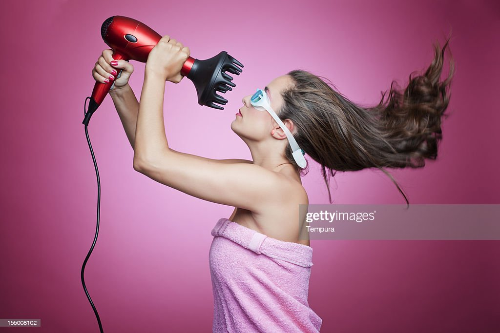 High power blow dryer and googles.