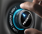 Man fingers setting priority button on highest position. Concept image for illustration of priorities management.