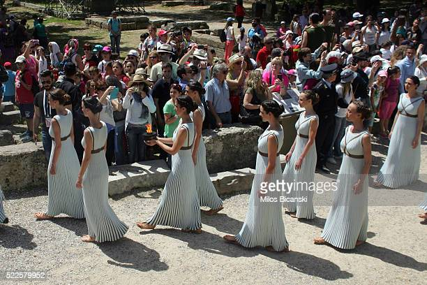 High pristesses perform at the Ancient Stadium during the Rehearsal for the Lighting Ceremony of the Olympic Flame at Ancient Olympia on April 20...