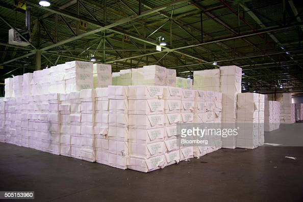High quality paper sits packaged ready for shipment by rail at the Resolute Forest Products mill in Thunder Bay Canada Ontario on Thursday Jan 7 2016...