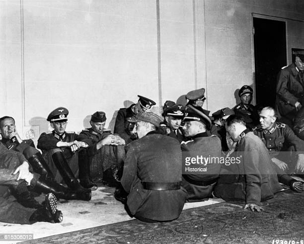 High ranking German officers seized by Free French troops who liberated their country's capital are lodged in the hotel Majestic in Paris The hotel...