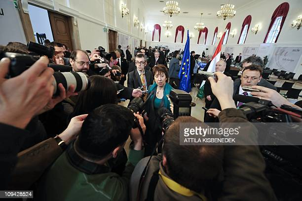 High Representative for Foreign and Security Policy Catherine Ashton gives a doorstep for the press prior to the informal council meeting of EU...
