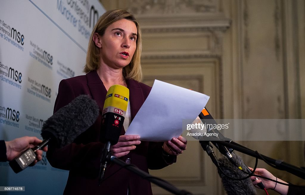 High Representative of the European Union for Foreign Affairs and Security Policy, Federica Mogherini, speaks to the media during the 52nd Security Conference in Munich, Germany on February 12, 2016. The conference on security policy takes place from Feb. 12, 2016 until Feb. 14, 2016.