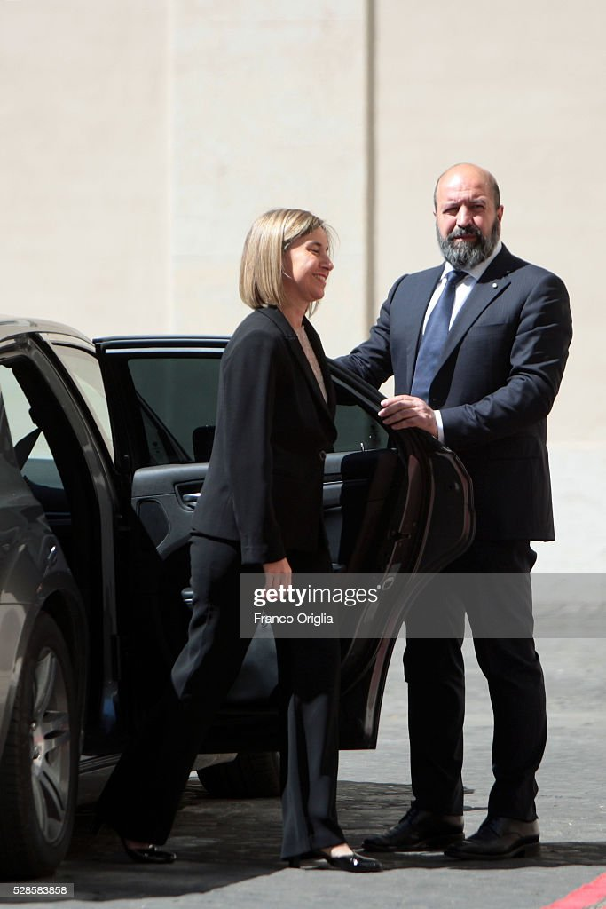 High Representative of the European Union for Foreign Affairs and Security Policy and Vice-President of the European Commission Federica Mogherini arrives at the Apostolic Palace for Pope Francis' International Charlemagne Prize of Aachen awarding ceremony on May 6, 2016 in Vatican City, Vatican. The International Charlemagne Prize of Aachen is the oldest and best-known prize awarded for work done in the service of European unification.