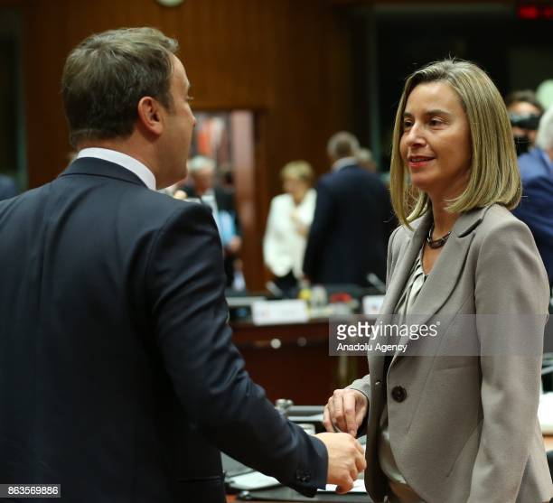 High Representative of the European Union for Foreign Affairs and Security Policy Federica Mogherini and Prime Minister of Luxemburg Xavier Bettel...