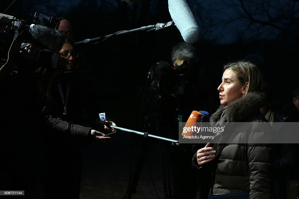 High Representative of the Union for Foreign Affairs and Security Policy Federica Mogherini answers journalist questions as she arrives to attend Informal Gymnich meeting of EU foreign ministers in Amsterdam, Netherlands on February 6, 2016.