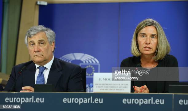 High Representative of the Union for Foreign Affairs and Security Policy Federica Mogherini President of the European Parliament Antonio Tajani and...