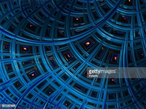 High resolution blue architectural fractal background.