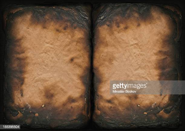 High Resolution Burnt Antique Book Paper Pages Vignette Grunge Texture