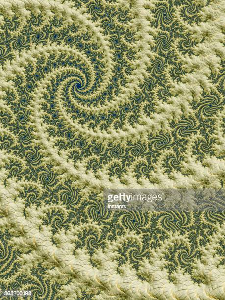High resolution green and beige spiral fractal background.