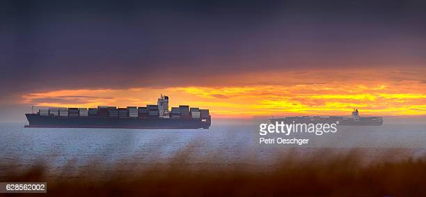 High resolution image of Container ships waiting to enter Cape Town harbour.